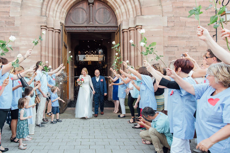 photographe mariage Strasbourg robertsau sortie église